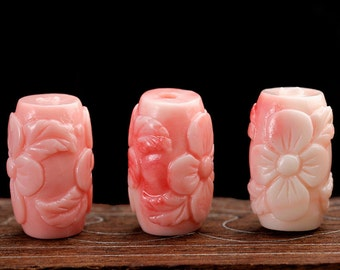 2pcs 10mm x 15mm Carved Synthetic Coral Pink Beads, Carved Flower Barrel Beads, Loose Beads