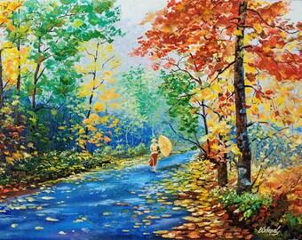 "Oil painting - ""Fall Colors"" canvas painting. 15,7""x11.8"" (40cm x 30cm) painting art original, wall art canvas, oil painting LANDSCAPE"
