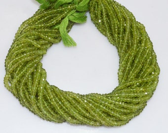 "AAA Quality Peridot Rondelle Beads 13"" Strand ,Peridot Faceted Rondelle Beads , 4.25 mm - MC439"