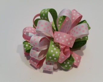 Pink and Green Loopy Pom Pom Hair Bow Clip Barrette
