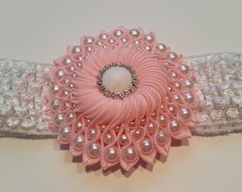 Pink Kanzashi Headband, Baby headband