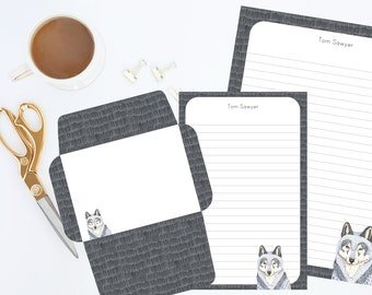 Wolf Editable Personalized Stationery Printables