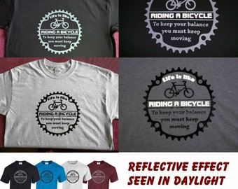 Reflective - Life is like riding a bicycle. Albert Einstein Cycling bike T-shirt
