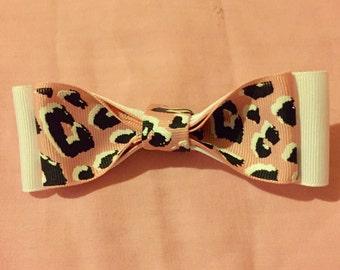 Leopard Print Hair Bow Clip (Pink)