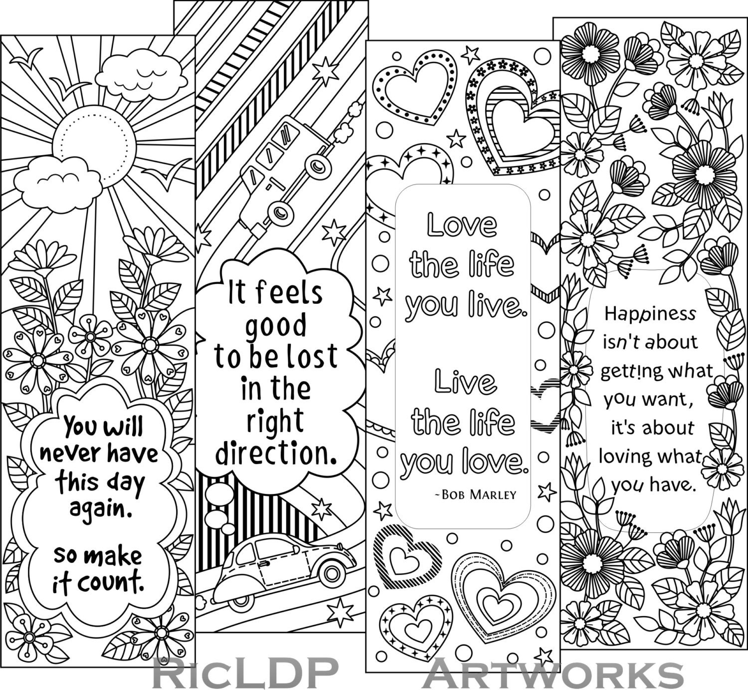 Sweet image with free printable bookmarks to color pdf