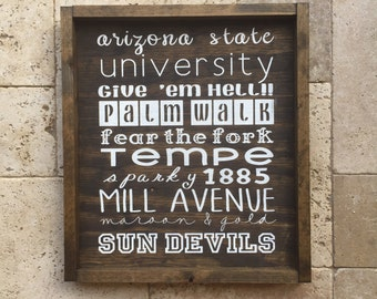 Wood Sign Arizona State Universiy