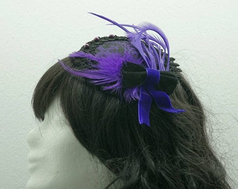 Fascinator purple black