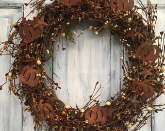 "18"" Primitive Country Fall Pumpkin Wreath"