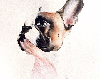 Custom pet portrait, original watercolor painting dog cat animal pet lover painting handmade wall art gift