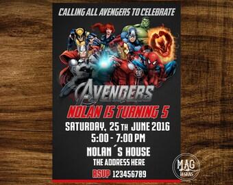 Avengers Invitation - Avengers  Birthday - Super Hero Invitation - Avengers  Party- Digital Invitations.