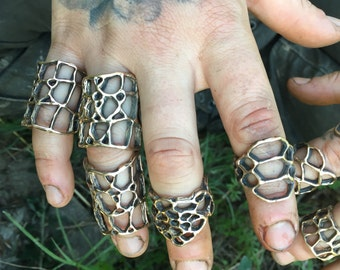 Alligator Skin Shield Cast Bronze Rings
