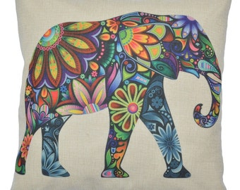 Multi-color Linen Elephant Throw Pillow 18 inch x 18 inch