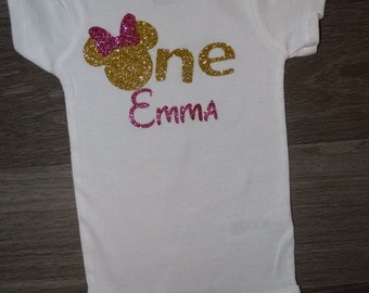 Minnie mouse birthday onesie