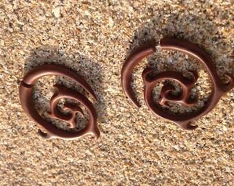 Hand Carved Spiral Wooden Fake Gauge