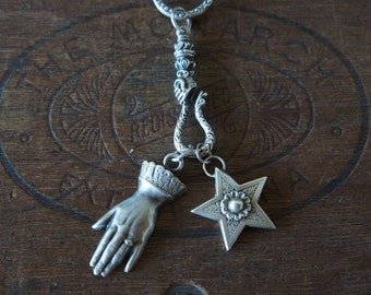 Snake Charmer - Solid Silver Charm Necklace with Hand Holding Snake Hook, Star and Antique Hand Charms