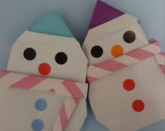 snowman/origami snowman/ paper origami snowman / couple snowman