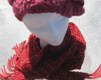 Pink Cherry Handknitted Woman's Beret
