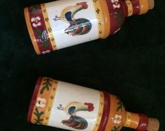 Hand-painted bottles for oil and vinegar