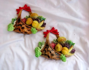 REDUCED Kitchy Enesco Woven Basket Wall Plaques Ceramic Hand Painted Decorative Fruit Basket For Kitchen 3D  54