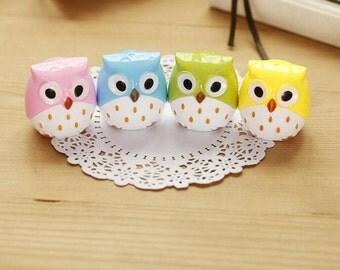 Set of 3 Kawaii Owl Pencil Sharpeners / Cute Pencil Sharpener