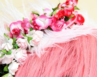 Headband with feathers white and pink roses