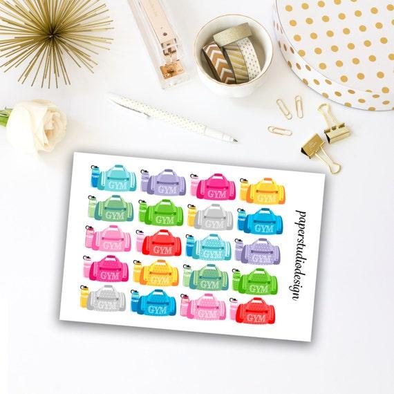 Gym Bag Planner Stickers - Item Stickers, Planner Decor, Planner Stickers, Workout Stickers, Planner Decor, Stickers For Planner