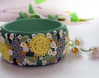 Bracelet Spring Meadow polymer clay