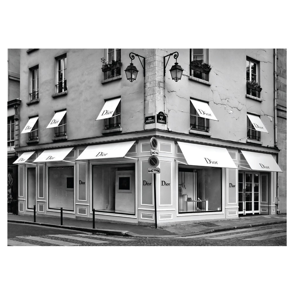 dior paris shop boutique shop poster print stra e ecke paris. Black Bedroom Furniture Sets. Home Design Ideas