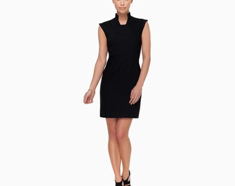 Dress black cocktail KELLY, col Mao, cut to size and clips side, stretch