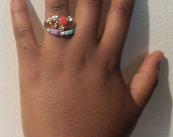 Colorful gold ring