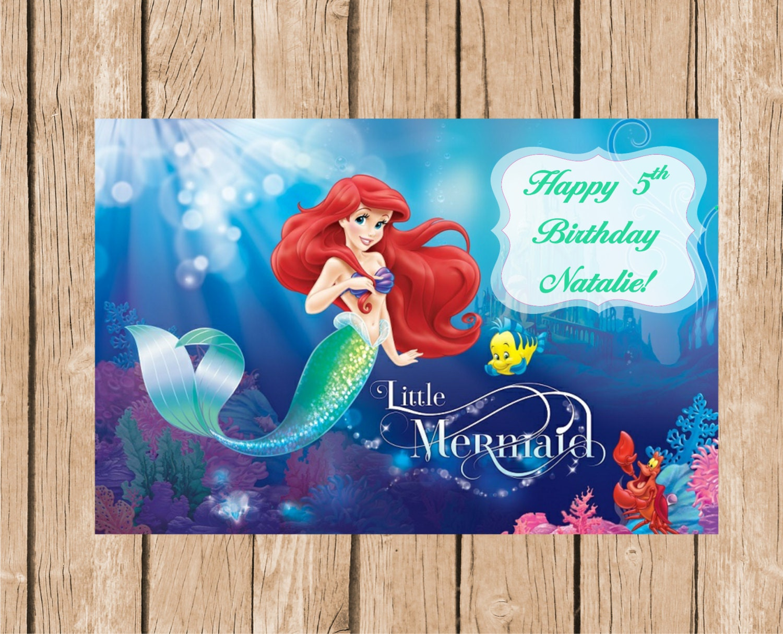 The Little Mermaid Birthday Vinyl Banner