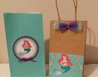 Little mermaid inspired goodie bags/ little mermaid favor bags/ set of 12