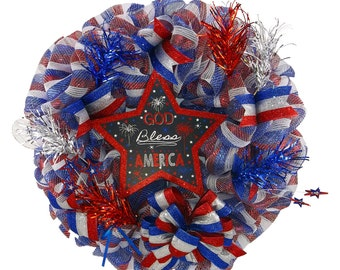 Patriotic Star Deco Mesh Wreath
