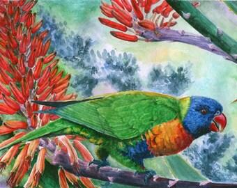 Original watercolor painting Green parrot.