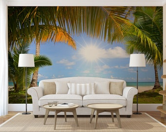 Tropical beach wall mural, self adhesive photo mural