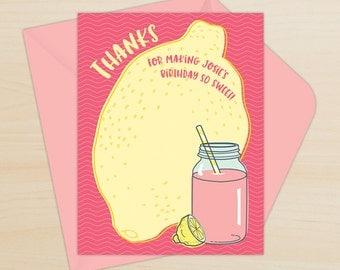 Pink Lemonade Thank You Card, Printable Thank You, Pink & Yellow Thank You, Personalized Pink Lemonade Printable