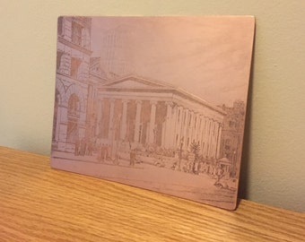 Vintage Copper Engraved Litho Plate - 1925 - Historic Dayton Courthouse