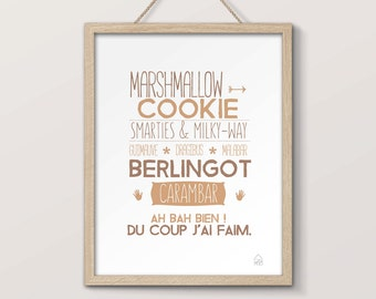 Typographic poster confectionery, cakes, candy and sweets, poster for kitchen, treats