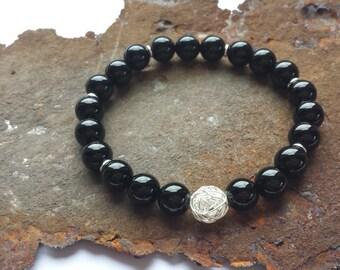 Onyx bracelet with 925 Silver items