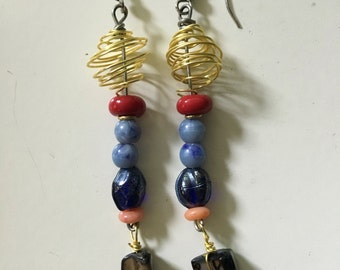 Blue and red recycled beads with gold wire orbs
