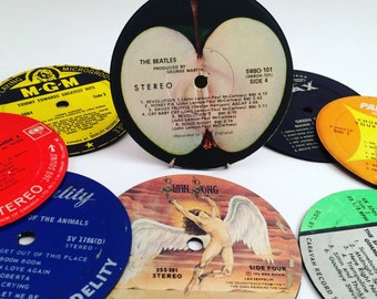 Set of 4 Recycled Record Coasters