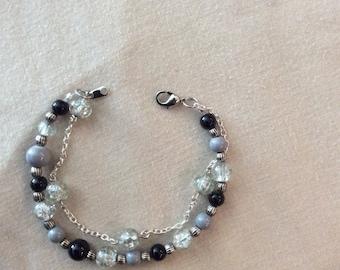 silver/black/grey double strand bracelet