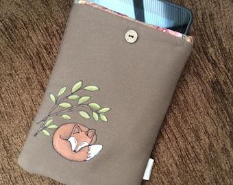 Hand painted Kindle fire /  iPad mini sleeve - Foxy