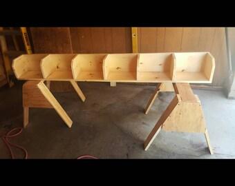 Pine wood corner bookcase