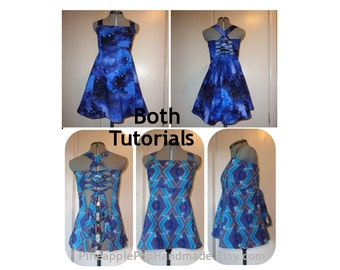 2 Tutorial Package - Festival Dress & Apron Top - Hippie Patchwork Base Patterns - Ebook Instructions DIY