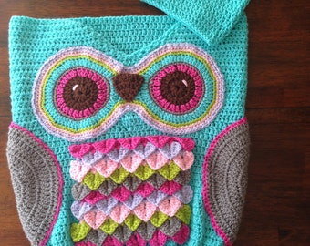 Owl Cocoon, Crochet Owl Cocoon with Hat