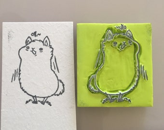 Cute Llama hand carved rubber stamp