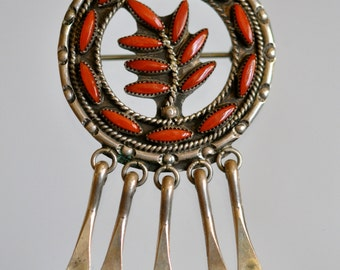 """Permanently reduced : Vintage Native American Pendant/Brooch Zuni Needlepoint Silver and Coral Signed """"FE"""""""