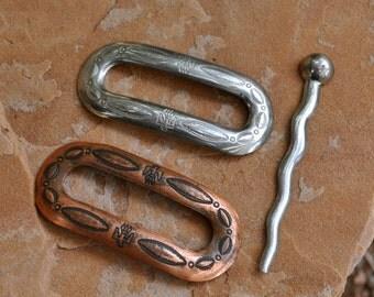 Permanently reduced :  Native American Copper & Silver Tone Stick Barrettes