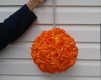 Orange Rose Silk Flower Pomander / Kissing Balls